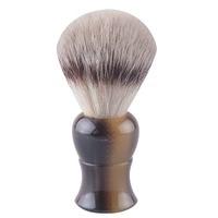 Top quality synthetic hair shaving brush faux ox horn handle professional barber shop shaving razor brush