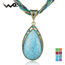 Antique Tear Drop Gem Bohemia Rhinestone Pendant Glass Beads Cord Rope Chain Clavicle Necklace Free Shipping B022