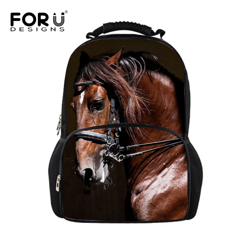 ФОТО FORUDESIGNS 3D Animal Printing Backpacks for Men Crazy Horse Dinosaur School Backpack for Teenager Boys Man Kids Travel Bagpack
