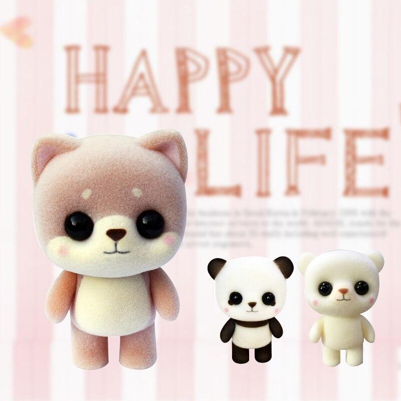 1 шт. мини флокирующая кукла, игрушки, Маленький милый медведь, панда, форма, большие глаза, изысканные куклы, декор для девочек и мальчиков, Рождественский подарок на день рождения Мягкие игрушки животные    АлиЭкспресс