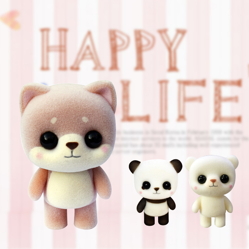 1Pcs Mini Flocking Doll Toys Little Cute Bear Panda Shape Big Eyes Exquisite Dolls Decor For Girls Boys Christmas  Birthday Gift