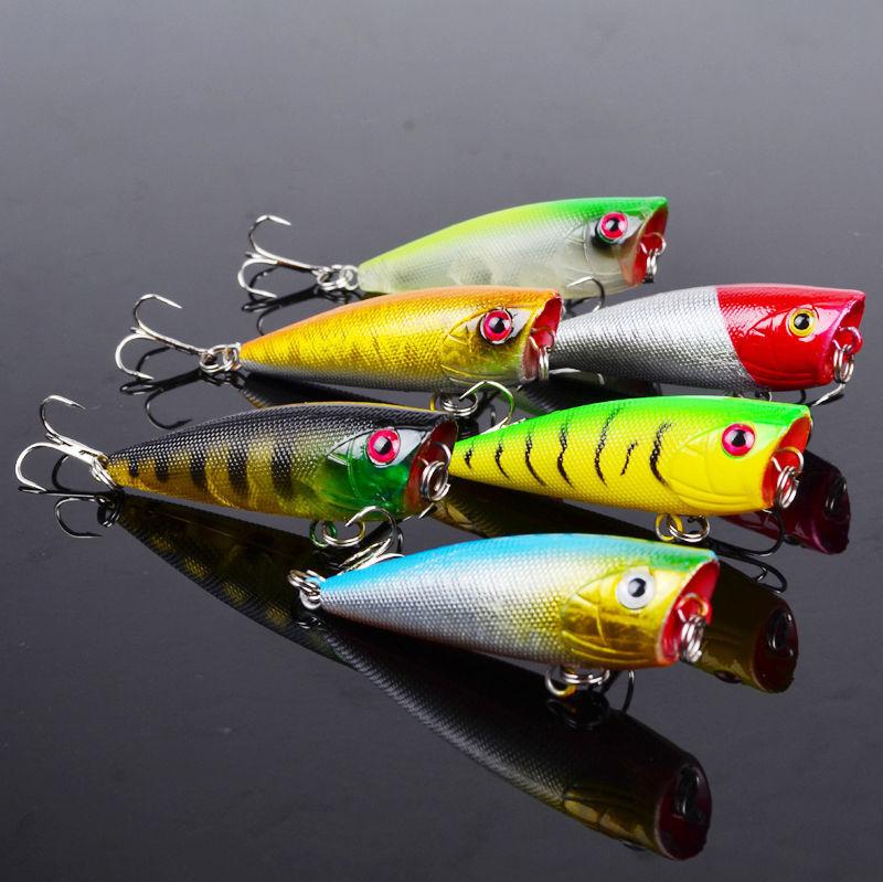 6pcs Lot Popper Fishing Lures Crankbait Topwater Bait Bass ...