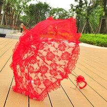 Зонт с вышивкой Розы Винтажный кружевной ручной открытый Свадебный зонтик черный зонтик для невесты для свадебного душа зонтик