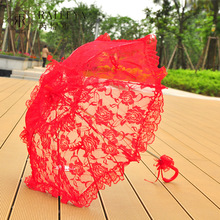 Paraguas bordado Rosa Vintage encaje Manual apertura boda paraguas negro novia sombrilla para boda ducha paraguas