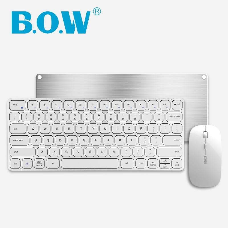 B.O.W Plug and Play Combo clavier et souris sans fil Rechargeable pour ordinateur avec récepteur Nano USB, 78 touches, Design silencieux