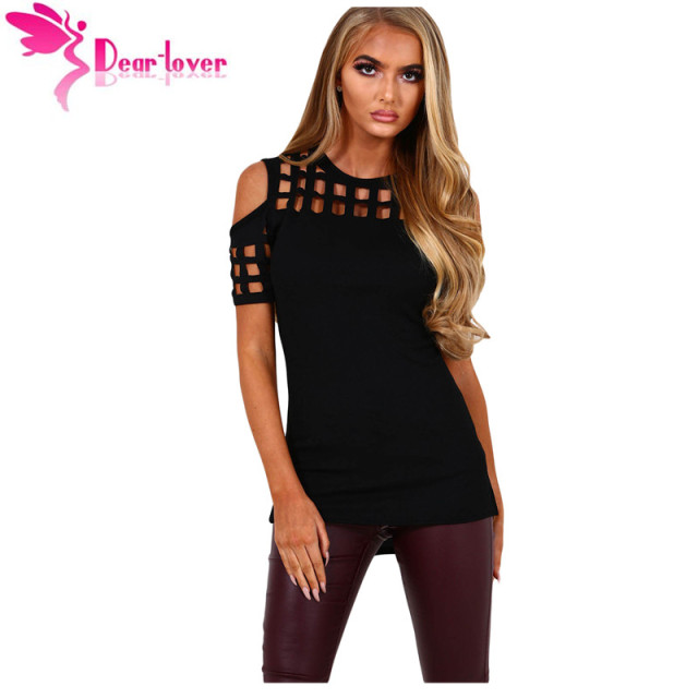 0d673ef8f7c Dear-Lover Womens Summer Ladies T-shirts Short Sleeve Femme Black Cage  Cutout Cold