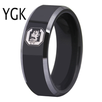 Free Shipping Customs Engraving Ring Hot Sales 8MM Black With Shiny Edges GAMECOCKS Design Tungsten Wedding