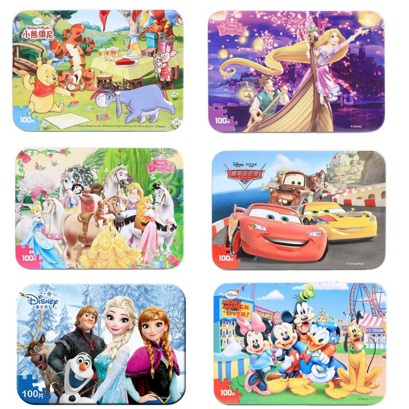 13 Style Disney Pixar Cars 3 Frozen Mickey 100 Slice Small Piece Puzzle Toy Children Wooden Jigsaw Puzzles Kids Educational Toys
