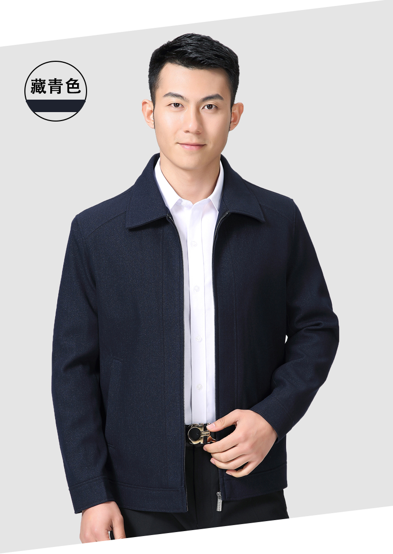 Mature Man Casual Jacket Black Navy Blue Solid Colour Basic Coat Male Turn Down Collar Zipper Front Outerwear Mens Spring Autumn Coats (9)