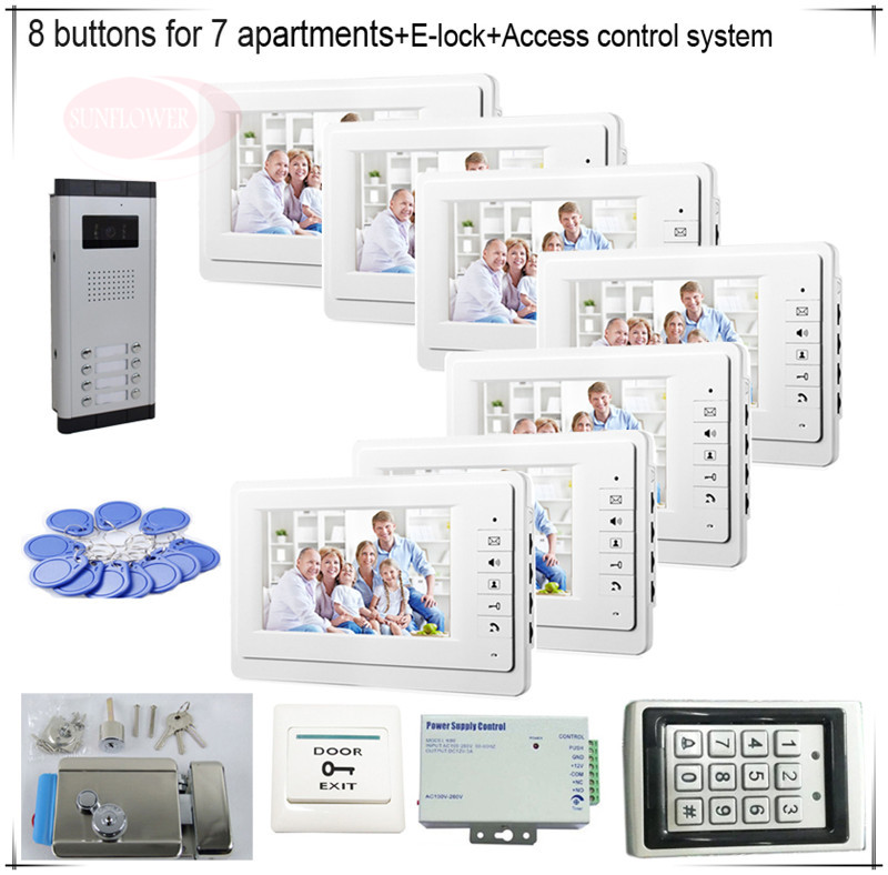 8 Пуговицы Цвет видеодомофонов Системы S 7 ЖК-дисплей безопасности Дверные звонки для 7 квартир + Система контроля доступа + E замок-