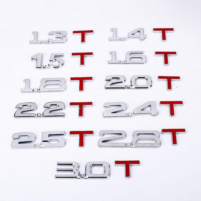 1PCS Chrome Metal Alloy Turbo Engine Displacement Sticker Emblem Badge 1.5T/2.0T/2.2T/2.4T/2.8T/3.0T