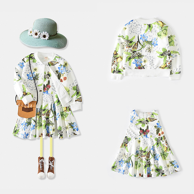 New 2017 autumn girls clothing sets cotton printting children's clothes long sleeve coat + dress casual 2PCS girls suits new autumn sweet girls sets two piece cardigan outwear cape jacket long sleeve dress cotton lace kids girls clothes sets