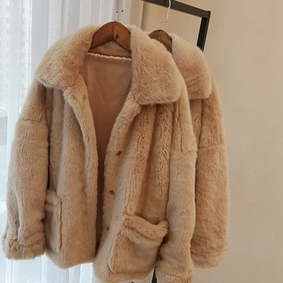 2018 New Style High end Fashion Women Faux Fur Coat S12 in Faux Fur from Women 39 s Clothing