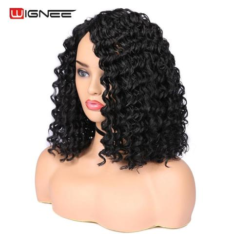 Wignee Natural Black Hair Kinky Curly Synthetic Wig For Women High Density Heat Resistant None Lace Side Part Female African Wig Islamabad