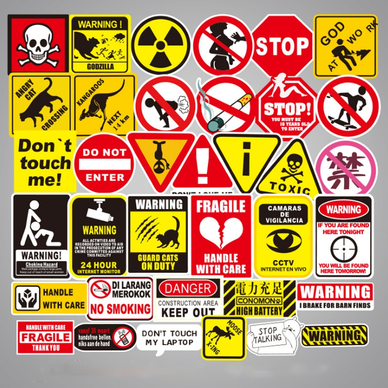 50 Pcs/Set Sign Decal Car Stickers Logo And Warning For Luggage Laptop Car-styling Motocycle Fridge Guitar Car Accessories