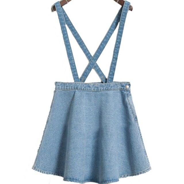 Nueva Corea denim jean falda paraguas delgada swing grande falda jeans correa de cintura sola hebilla tirantes desmontables faldas
