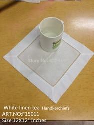 Fashion Tea Handkerchiefs 60PCS 12x12Linen Casual Men's Tea Handkerchief Embroidered Hemstitched Hankies For Special Occasions