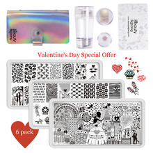 BeautyBigBang Nail Stamping Plate Set 6PCS Valentines Day Gift Image Template Art Case With Clear Jelly Stamper
