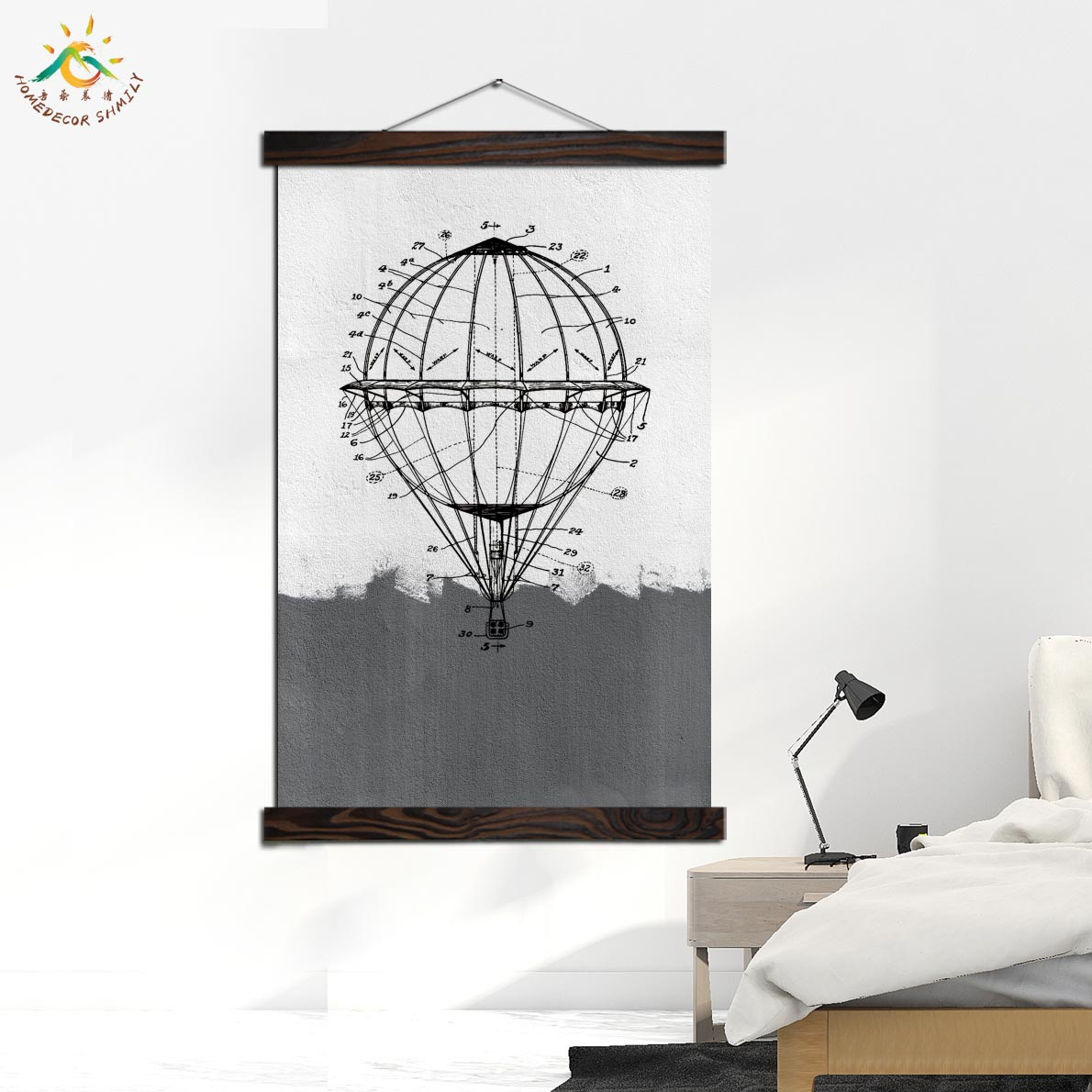 Hot Air Balloon Sketch Nordic Poster Decoration Wall Art Canvas Poster and Print Canvas Painting Decorative Picture Home Decor in Painting Calligraphy from Home Garden