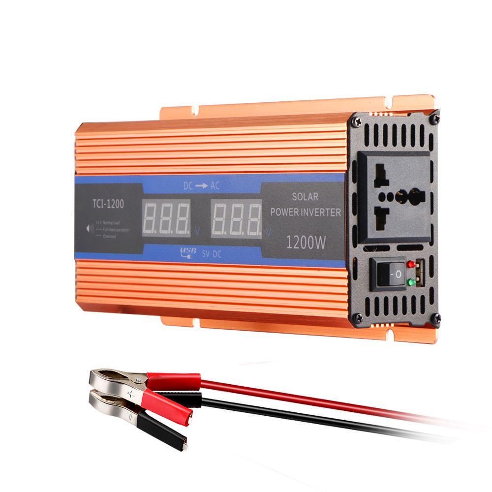 700W Pure Sine Wave Car Power Inverter 1200W Peak Power DC 12V to AC220V with LCD