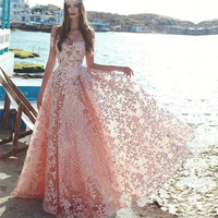 Elegant Pink Off Shoulder Prom Gown 2019 Modest Lace Appliques Evening Gowns Custom Made Floor Length Prom Party Dress