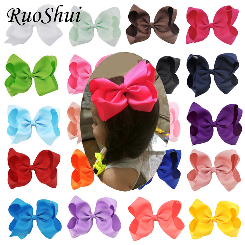 20 PCS / lot 6 Inch Grosgrain Ribbon Bows Clip Flokët Bowknot Pinwheel Flower DIY DIY Headwear