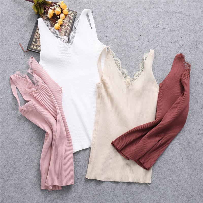 Sexy Women Plain Camisole Lace Splicing Double V-neck Vest Slim Sling   Tank     Tops   F05