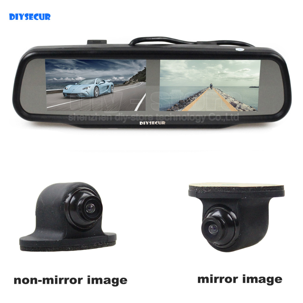 buy double screen 4 3 inch tft lcd rearview car mirror monitor car rear view. Black Bedroom Furniture Sets. Home Design Ideas