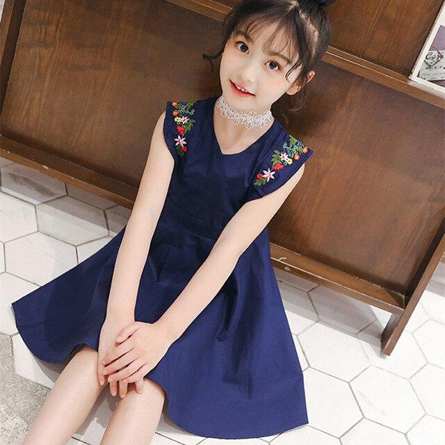 a2a7bb725ce5 DFXD Children Dress 2018 Summer New Korean Teens Girl Sleeveless Flower  Embroidery V-neck Cotton Princess Dress Girl Party Dress