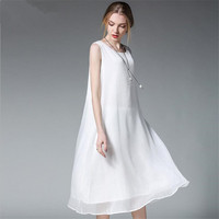 Fashion White Women Long Tank Dress 2017 New Summer Autumn Retro Sleeveless Chiffon Designs Casual Dresses