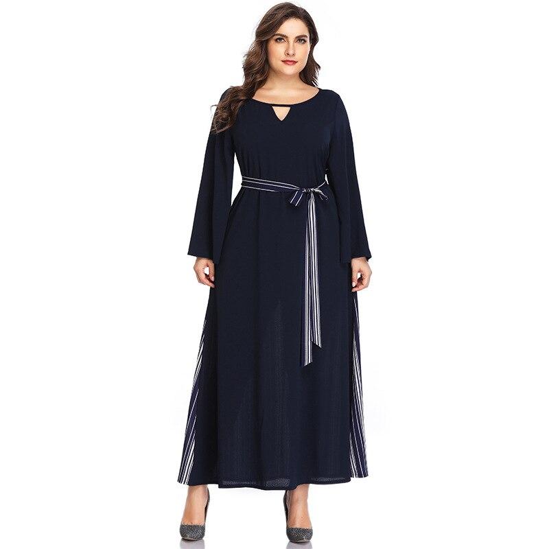 49954ee81c15 Grande Tamanho do Vestido Simples XL-5XL Maxi Vestido de Mulher Vestido de Verão  Plus Size Manga Longa Femme Vestido Longo HY8219