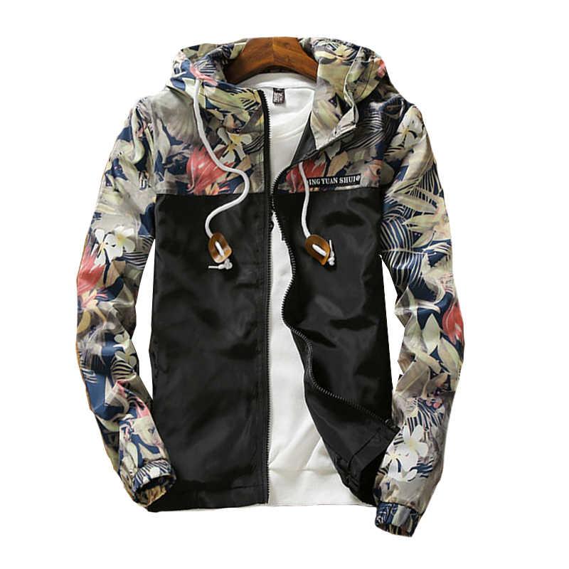 Мужская куртка; ветровка 2019 весна осень Горячая Распродажа цветочные принты Модные мужские повседневные куртки с капюшоном тонкие хип хоп мужские пальто