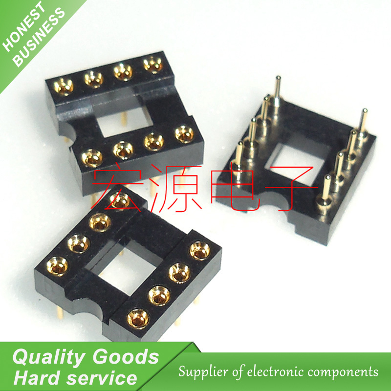 Gold Plated IC Sockets Adaptor Round Hole 8pin Pitch DIP RG Machined Ic New