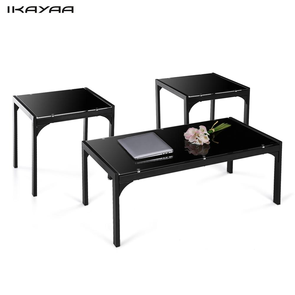 Ikayaa us uk fr stock 3pcs coffee tea table coffee table with 2 end side table living room Side table and coffee table set
