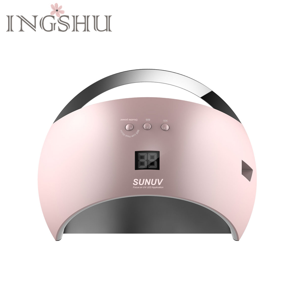 INGSHU SUN6 Smart Nail Dryer 48W LED UV Lamp With Sensor & LCD Timer Unique Low Heat Mode Double Power For Fast Drying sun4 48w led nail dryer double light source low heat mode fingernail