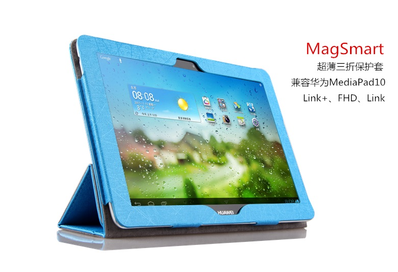 HOT! film+pen+ high quality fashion PU Leather Cover Case for Huawei MediaPad 10 FHD/Link 10.1 magnet stand case