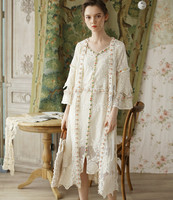 Spring Summer Women Elegant Sweet White Lace Long Shirt Ladies Embroidery All Match Mori Girl Lace Smock Frock Blouse Clothes