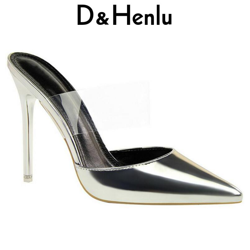 D&Henlu Sexy Woman Slippers Summer Sandals Point Toe Women Pumps Thin Heel Flip Flops Woman Transparent Shoes Sandals Mules
