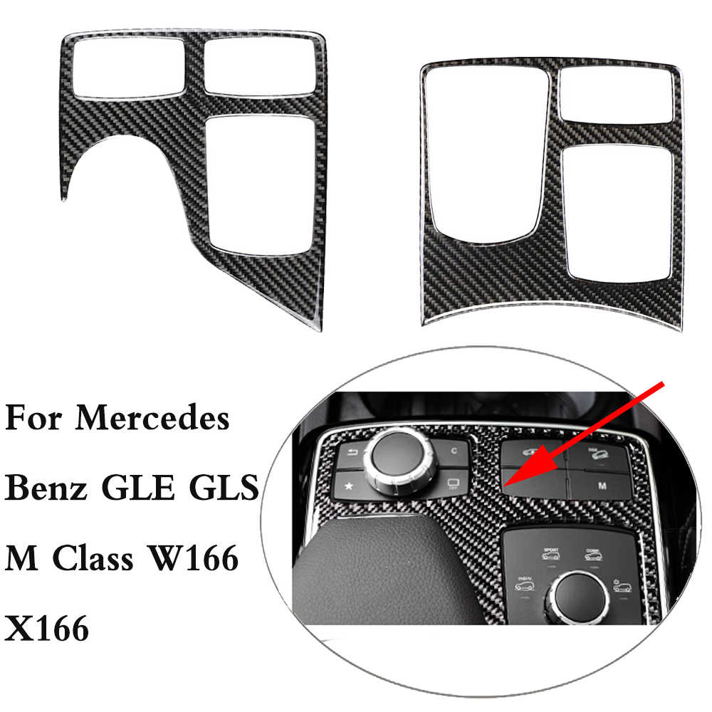 GLE GLS M Class Carbon Fiber Central Control Armrest Box Multimedia Plane Stickers Trim Covers For Mercedes Benz W166 X166