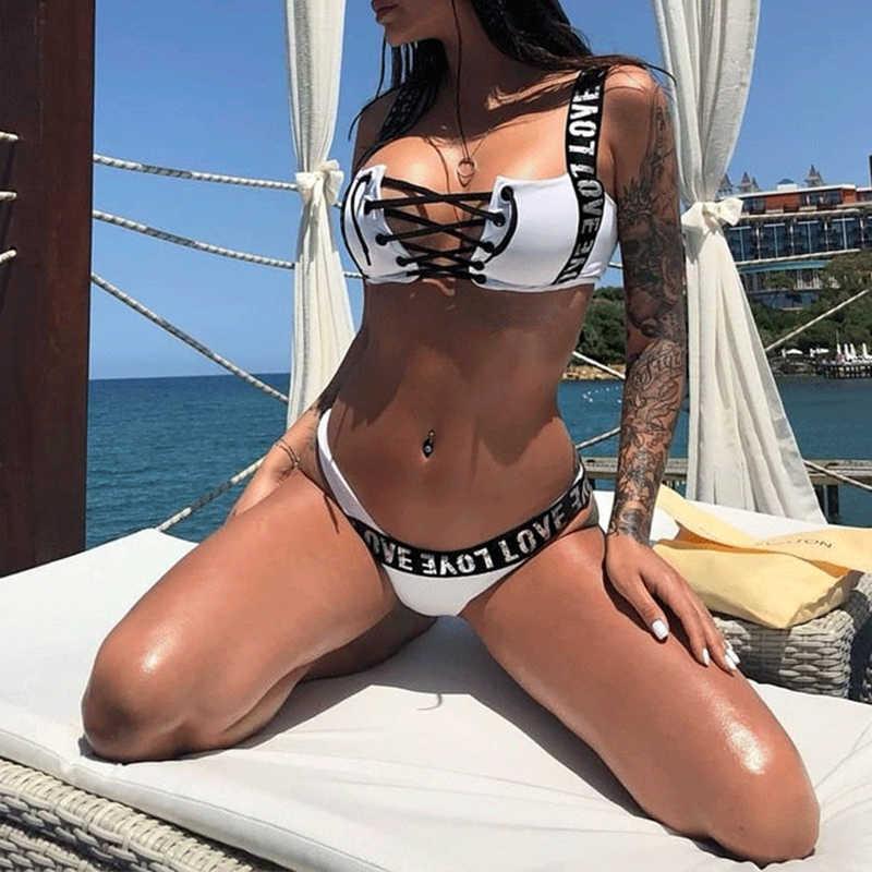 fbbbd48bb03 ... Bikinx Extreme bikini micro bathing suit Lace up black swimsuit female  Push up letter two- ...