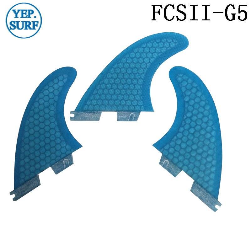 Surf FCS2 G5 Fins Blue Surfboard Honeycomb Fins