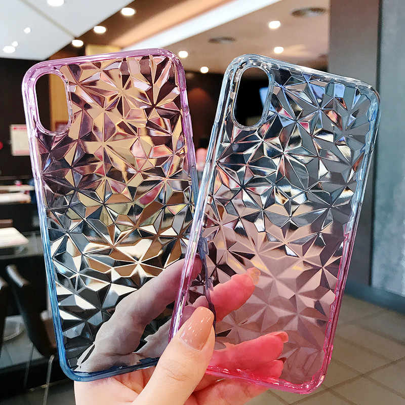 Para iphone XS MAX Capa Mole Volta Silicone Completa TPU 3D Cristal Gradiente Textura do Diamante Da Tampa Do Caso Para O iphone XR X 6 6 s 7 8 Plus