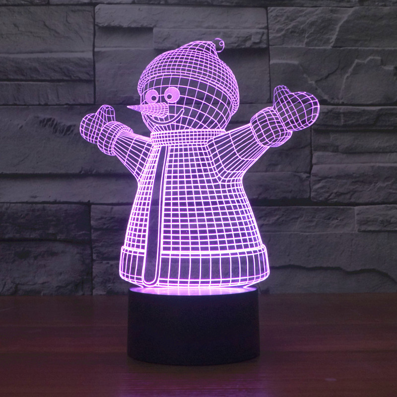 2016 Christmas Snowman 2 3D lights colorful touch LED visual light gift celebration table lamp