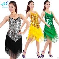 1920 s Flapper Gatsby Charleston Party Kleid Latin Ballroom Salsa Tänzerin Kostüm Kleid Leistung Outfits Fransen Pailletten #2335