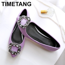 TIMETANG Spring women's shoes soft soled leisure and comfortable diamond woman shoes fashion flat large 45 size work shoes C115