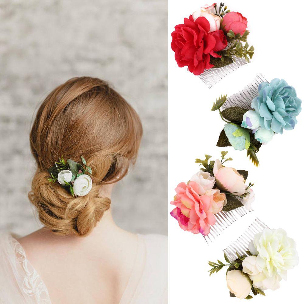 2018 Women Fashion Flower Hairpins Brides Hair Pins Clips Combs Bridesmaid Cloth Flower Jewelry Wedding Hair Accessories