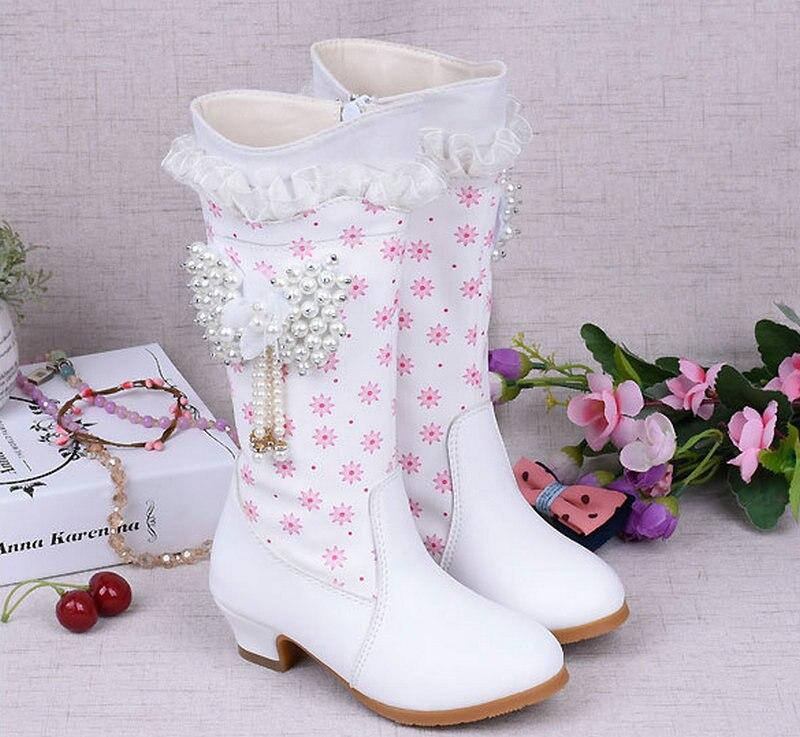 2018 Fashion Girls Winter Snow High Boots Dzieci PU Leather Boots - Obuwie dziecięce - Zdjęcie 1