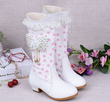 2018 Fashion Gadis Musim Dingin Salju Boots Tinggi Anak PU Sepatu Kulit Hangat Sepatu Putri Bayi Perempuan Ukuran 26-37
