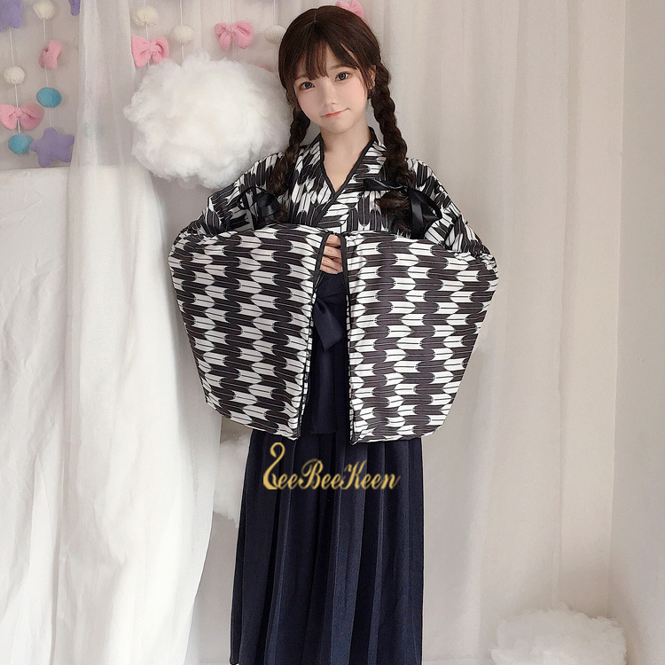 Black/red/blue Japanese Kimono  Girls Skirt Anime Cosplay kimono jiu jitsu Game Cosplay Costume For Women Academy Pleated Skirt