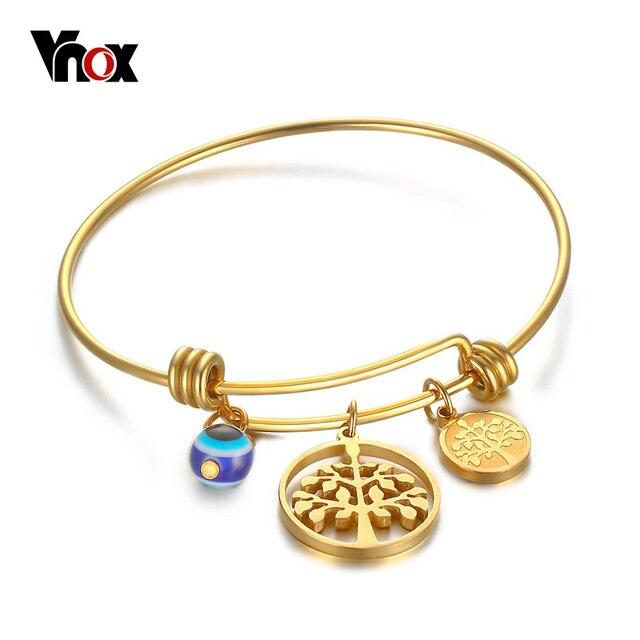 Vnox Tree Of Life Wire Bangle Bracelet Adjule Expandable Charm Bracelets For Women Jewelry